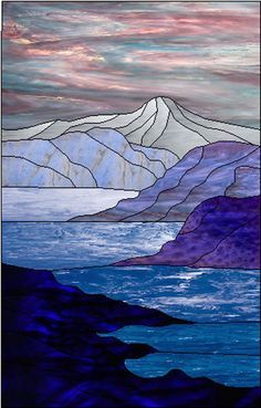 MOUNTAIN LANDSCAPE WITH WATER - Stef Semple ( Stained Glass Artist)   -  Stained Glass Hanging Panels & Window Hangings for Sale in Cape Cod | Semple Glass Studio