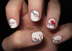 White, gray and red nails. Bird  branches.