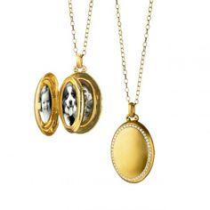 Monica Rich Kosann: 18K Yellow Gold 4-Image Oval Locket with Diamond Border