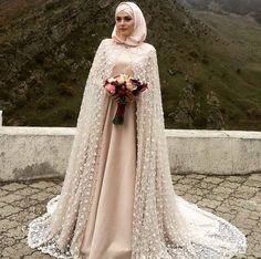 Beautiful Muslim Bride Tesettür Elbise Kapalı Gelin Dress Wedding Abaya Muslimah