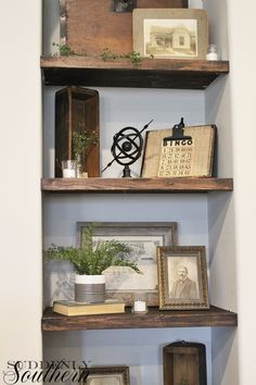 Hello again... I am continuing my after Christmas decorating. My hubby made me these shelves in the niche before the holidays. ...
