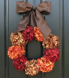Front Door Wreaths for Christmas, Hydrangea Wreath, Holiday Wreaths, Featured in Town & Country Holiday Magazine Easy Fall Wreaths, Holiday Wreaths, Fall Crafts, Holiday Crafts, Holiday Decor, Diy Wreath, Door Wreaths, Etsy Wreaths, Wreath Ideas
