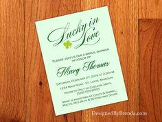 Simple Lucky in Love Wedding Shower Invitation by DesignedByBrenda