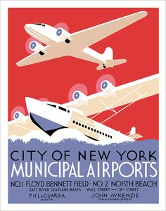 """11""""x14"""" print of a 1930's era WPA poster promoting the Municipal Airports of New York City. aswegoArts shop on Etsy"""