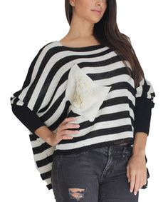 Take a look at this Black & White Lexy Geometric Dolman Top on zulily today!