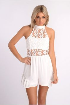 PAXTON WHITE CROCHET LACE TOP PLAYSUIT