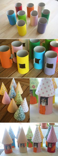 DIY Toilet paper roll craft: Little Birdhouse Ornaments