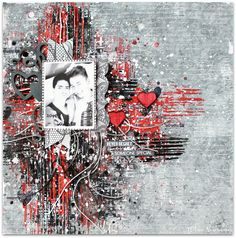 """Scraps of Darkness scrapbook kits: Wilma Voermans created this stunning red, black and grey """"love"""", Valentine's Day mixed media grunge layout  using our Jan. Beloved kit. Subscribe to our kits today and receive a new box of coordinated mixed media scrapbooking fun delivered to you each month. www.scrapsofdarkness.com"""