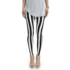 (NOL041-BLACK) Footless Stripe Pattern Stretchy Leggings