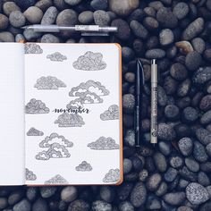 Bullet journal monthly cover page, November cover page, cloud drawing, patterned clouds. @junjournals