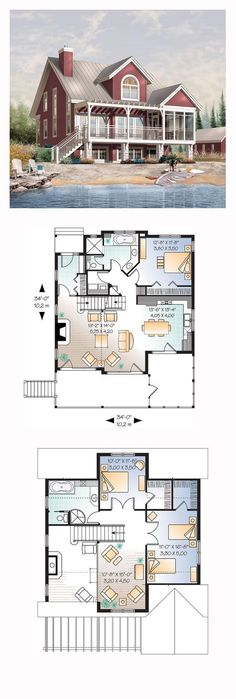 Lakefront Style COOL House Plan ID: chp-32672 | Total Living Area: 1878 sq. ft., 3 bedrooms and 2 bathrooms. #lakefronthome