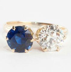 Ladies 14k Yellow Gold Diamond & Sapphire Two-Stone Engagement Ring 3.25ctw