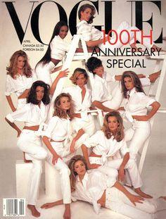 1990's, Christy Turlington, Cindy Crawford, Claudia Schiffer, Karen Mulder, Linda Evangelista, Naomi Campbell, Niki Taylor, Supermodels, Vogue, Yasmeen Ghauri