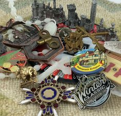 Casino de Montréal Coaster. - 5 Metal Miniatures of Castles and Towers, Material Unknown. Prop Only. - Las Vegas Souvenir Enamel Goldtone Metal Pinback Button. Bagged Pin Shows Discoloration and Bag is Very Worn and Dusty Inside. | eBay!