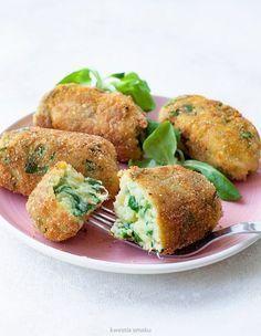 Krokiety z kaszy jaglanej ze szpinakiem i serem