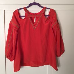BCBG Off The Shoulder Top BCBG Top! Bright red color that will capture the eye of anyone, beautiful detail, great neckline BCBGMaxAzria Tops Tees - Long Sleeve