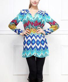 Another great find on #zulily! Blue & White Ikat Surplice Dress #zulilyfinds