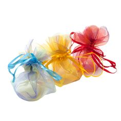 These multi-colored organza cinch pouches are the perfect splash of color for gift packaging!