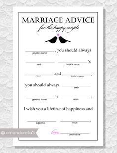 Marriage Advice Madlibs - DIY Printable - Lovebirds - Bridal Shower Game. $15.00, via Etsy.