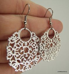 Round Silver Medallion Filigree Earrings, Organic Bold Earrings, Gift for her under 25 Filigree Earrings, Round Earrings, Silver Earrings, Perfume Making, Sensitive Ears, Keep Jewelry, Jewelry Collection, Gifts For Her, Crochet Earrings