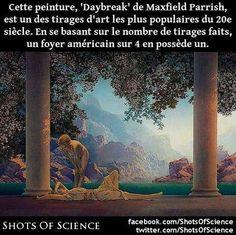 En savoir  (en anglais) : https://en.wikipedia.org/wiki/Daybreak_(painting) #art #peinture Cette peinture Daybreak de Maxfield Parrish est un des tirages dart les plus populaires du 20e siècle. En se basant sur le nombre de tirages faits un foyer américain sur 4 en possède un.