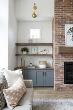 Brick Fireplace Makeover, Fireplace Shelves, Fireplace Built Ins, Home Fireplace, Living Room With Fireplace, Home Living Room, Living Room Decor, Custom Fireplace, Fireplace With Cabinets