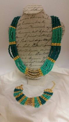 #seedbeads #bracelet #necklace #gold #turquoise Seed Beads, Beaded Necklace, Turquoise, Bracelets, Gold, Handmade, Crafts, Jewelry, Beaded Collar