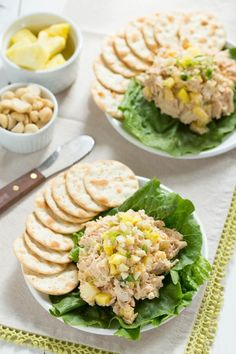 Hawaiian Chicken Salad with pineapple, macadamia nuts, and fresh herbs. A lighter version of a classic salad with Hawaiian flavors!
