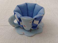 Xícara de Tecido Azul Flores