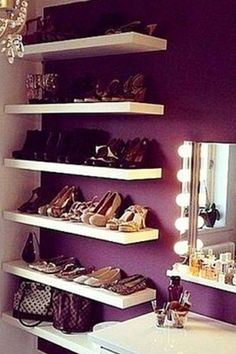 hang some floating shelves on a corner wall in your bedroom to store your shoes -Small Bedroom Storage Ideas - Creative Storage Ideas for Small Bedrooms #gettingorganized #smallbedroom