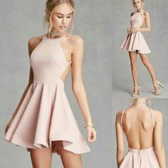 Fashion clothes 765119424168022481 - A knit fit and flare dress by Selfie Leslie™ featuring a round neckline, adjustable side cami straps, a backless design, a full circle skirt with a weighted hem, and an exposed back zipper. Source by filledecente Hoco Dresses, Dance Dresses, Pretty Dresses, Sexy Dresses, Beautiful Dresses, Bridesmaid Dresses, Chiffon Dresses, Cute Teen Dresses, Strapless Homecoming Dresses
