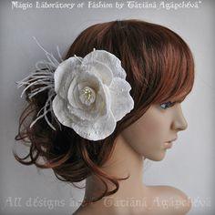 Silk Hair Rose Bridal Comb Fascinator Ivory Merino by TianaCHE, $120.00