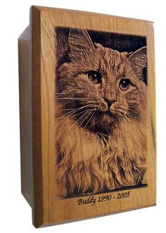 Laser engraved cat urn from a picture of Buddy.