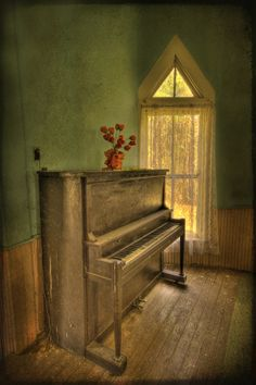"I took piano lessons for years... we had an old upright piano very similar to this. My aspiration in life back then was to play ""The Old Rugged Cross"" as beautifully as our Sunday School pianist..."