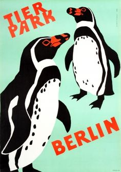 Berlin Zoo Penguins, 1973 - Original vintage travel advertising poster by Ulrich Nagel for the Berlin Zoo (Tierpark Berlin) listed on AntikBar.co.uk