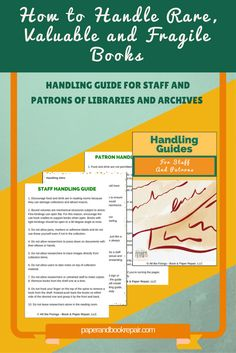 Handling guide for library and archive staff and patrons. Improper handling can affect the lifespan of your books and papers.When handling books (rare, fragile or in good condition) apply the techniques in this handling guide. Bookbinding Tools, Bookbinding Tutorial, Book Repair, Photo Restoration, Restoration Services, Photo Storage, Any Book, New Books, How To Apply