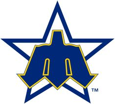 Seattle Mariners Primary Logo (1981) - A blue trident shaped as an 'M' on a blue star