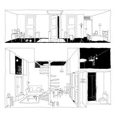 Architecture Drawings, Interior Architecture, Section Drawing, Architectural Section, Colorful Drawings, Pictures To Paint, Graphic Design Illustration, School Design, Floor Plans