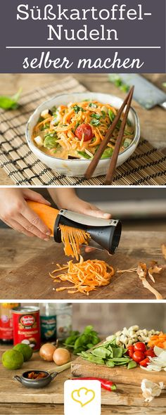 Red Thai curry with sweet potato noodles - # . - Red Thai Curry with Sweet Potato Noodles – noodles – - Healthy Vegetable Recipes, Vegetable Pasta, Healthy Dinner Recipes, Vegetarian Recipes, Cooking Recipes, Paleo Dinner, Law Carb, Thai Curry, Sweet Potato Noodles