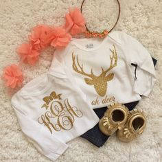 Baby Girl glitter Bodysuit set trendy baby by LineLiamBoutique