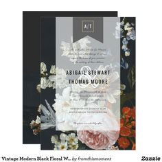 Vintage Modern Black Floral Wedding Invitation
