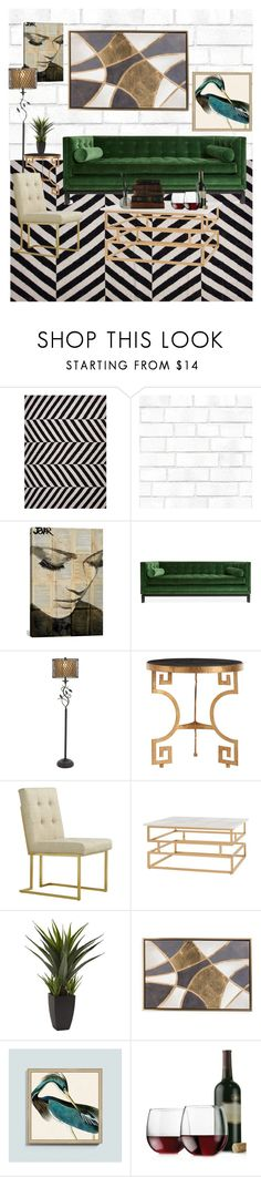 """Modern Retro Living Room"" by muzique-notez ❤ liked on Polyvore featuring interior, interiors, interior design, home, home decor, interior decorating, NOVICA, Tempaper, iCanvas and Jonathan Adler"