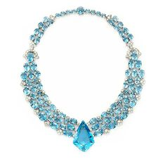 Gorgeous!!  An Art Deco Aquamarine and Diamond Necklace, by Cartier, circa 1938