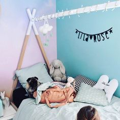 Sweet pastel wall murals for the girl's room from Pixers. Source:   @audrey.lilarose https://www.instagram.com/p/BT5r53WD0ig/?taken-by=audrey.lilarose
