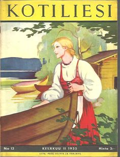 Kotiliesi Magazine cover by Martta Wendelin, Girl Face Drawing, Drawing S, Finnish Women, Newspaper Cover, How To Be Likeable, Stone Art, Vintage Ads, Finland, History