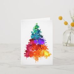 Shop Christmas Tree, Paint, Primary Colors Holiday Card created by KNS_Christmas_Store. Painted Christmas Cards, Watercolor Christmas Cards, Christmas Tree Painting, Homemade Christmas Cards, Christmas Store, Christmas Balls, Christmas Wreaths, Christmas Crafts, Christmas Decorations