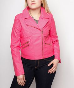 Rose Faux Leather Moto Jacket - Plus by Curvy Lily #zulily #zulilyfinds