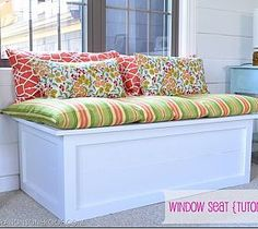 How to build a window seat {storage box} in an afternoon {tutorial}.