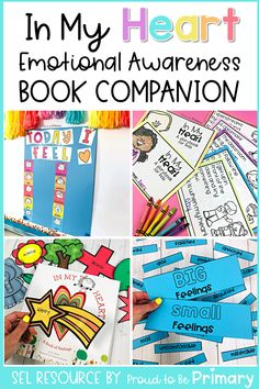 This emotional awareness book companion resource for kindergarten, first grade, and second grade teachers covers popular children's books on feelings and emotions, including In My Heart. Build literacy skills and foster a love of books with each story. Have classroom discussions, create an anchor chart, write, and participate fun activities (printable + digital) that teach emotional skills. Great for distance and remote teaching! #childrensbooks #emotions #socialemotionallearning Kindergarten Activities, Writing Activities, Fun Activities, Social Emotional Activities, Social Emotional Development, Character Education Lessons, Feelings Book, Classroom Images, Emotional Awareness