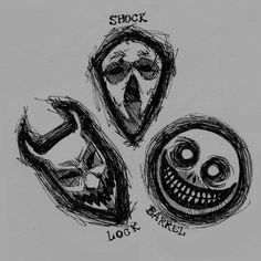 Lock, Shock, and Barrel masks by Spookyspoots on DeviantArt Scary Drawings, Trippy Drawings, Dark Art Drawings, Art Drawings Sketches, Creepy Sketches, Indie Drawings, Dark Art Illustrations, Arte Grunge, Grunge Art